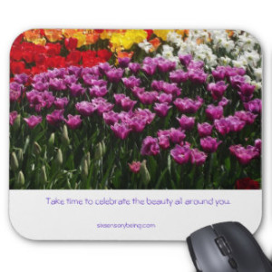 "These beautiful tulips are heralding in the Spring season. It's a season filled with new hope and the renewel of life. We have survived the harsh winter days and step out to celebrate the colors of the day. I wish you a happy celebration of the Spring season. Style: Mousepad Create a custom mousepad for home and office! Decorate your desk with your favorite image or choose from thousands of designs that look great and protect your mouse from scratches and debris. 9.25"" x 7.75"" – Perfect for any desk or work space. Quality, full-color printing. Durable cloth cover is dust and stain resistant. Non-slip backing. No minimum order. Designer Tip: To ensure the highest quality print, please note that this product's customizable design area measures 9.25"" x 7.75""."